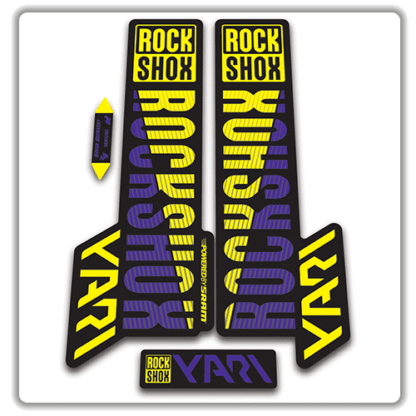 rockshox yari 2018 fork stickers purple and yellow
