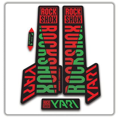 rockshox yari 2018 fork stickers red and green