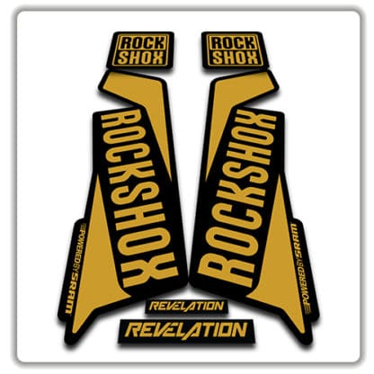 rockshox revelation fork sticker in gold