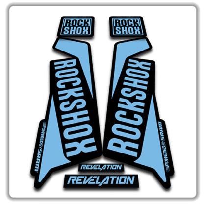 rockshox revelation fork sticker in light blue