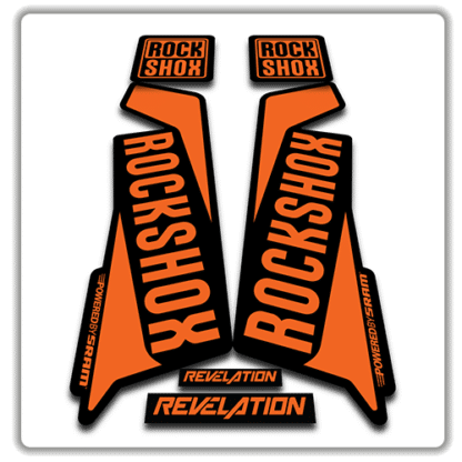 rockshox revelation fork sticker in orange