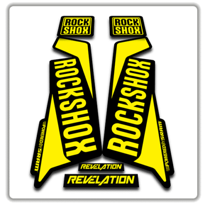 rockshox revelation fork sticker in yellow