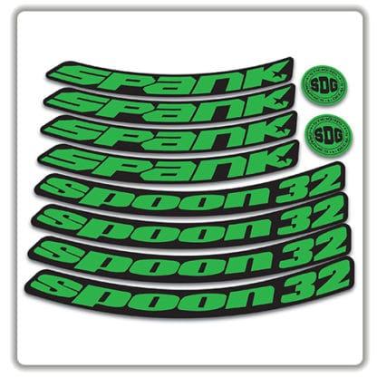 spank spoon 32 27.5 rim stickers green