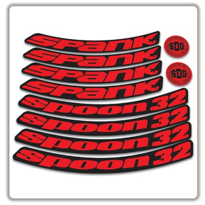 spank spoon 32 27.5 rim stickers red