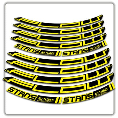 stans no tubes flow ztr mk3 rim stickers yellow