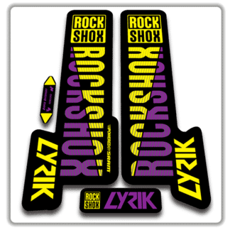yellow and purple rockshox lyric fork stickers 2018