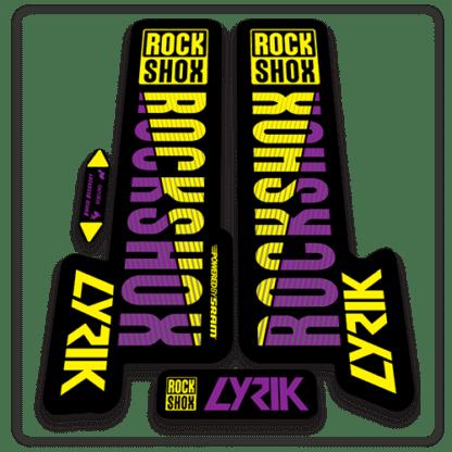 yellow and purple rockshox lyric fork stickers 2018